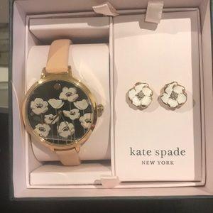 NIB Kate Spade Metro Poppy Watch & Earring Set
